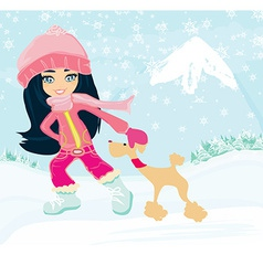 winter girl and her dog vector image