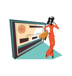 woman silhouette with shopping bag and credit card vector image