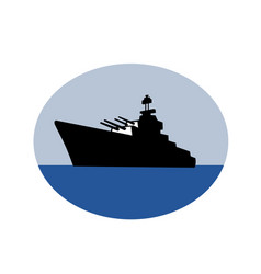 World war two battleship destroyer oval retro vector