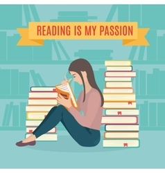 Young woman sitting read his favorite book vector image