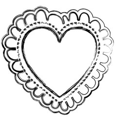 blurred silhouette decorative frame in heart shape vector image