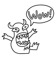 cartoon monster screaming wow speech bubble vector image