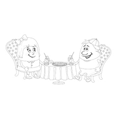 Children near table isolated contour vector image vector image