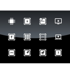 Computer CPU and microchip icons on black vector image