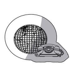 figure symbol planet communication telephone icon vector image