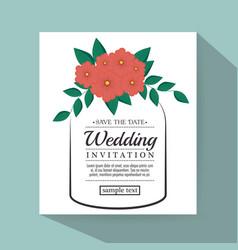 Vintage wedding invitation with floral elements vector