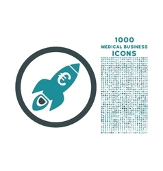 Euro Rocket Startup Rounded Icon with 1000 Bonus vector image