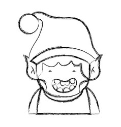 figure merry christmas elf with cute hat vector image