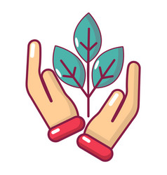hand sprout icon cartoon style vector image
