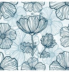 Monochromatic poppy flowers seamless pattern vector image