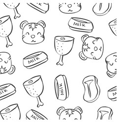 pattern with funny cat hand draw vector image