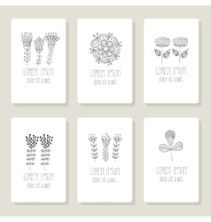 Set of cards invitation with hand drawn floral vector image