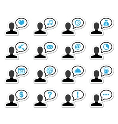 User man icon labels set for website vector image vector image