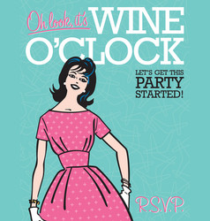 wine oclock retro party invitation vector image vector image