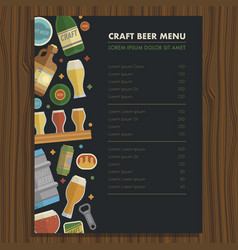 craft beer menu template for bar and restaraunt vector image