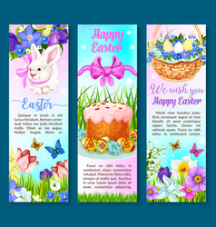 easter paschal cake eggs flowers banners vector image vector image