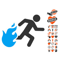 fired running man icon with valentine bonus vector image vector image