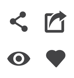 like share view icon set vector image