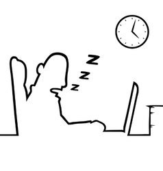 Man asleep at work vector image vector image