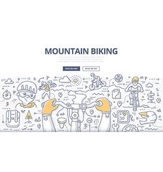 Mountain biking doodle concept vector