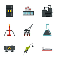 oil and petroleum icons set flat style vector image vector image