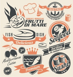 Seafood and fish icons signs symbols and logos vector image vector image