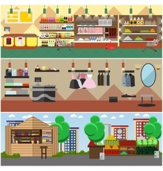 Shopping in a store and local market concept vector image vector image