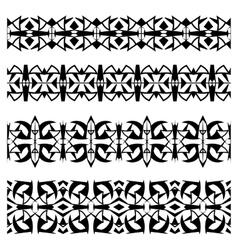 Abstract black geometrical seamless borders set vector