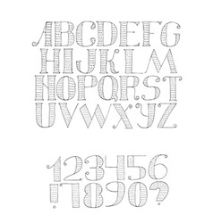 black and white with light english alphabet vector image vector image