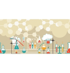 Chemistry infographic in a seamless pattern vector image vector image