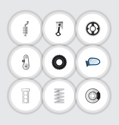 flat component set of wheel cambelt auto vector image vector image