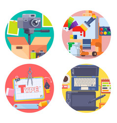 graphic design concept icons set with photography vector image vector image