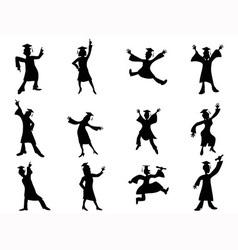happy graduates Silhouette vector image vector image