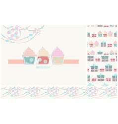 Invitation card for a party with seamless pattern vector image vector image