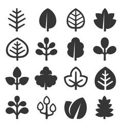 leaf icons set on white background vector image vector image
