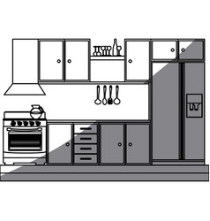 monochrome silhouette of kitchen cabinets with vector image vector image