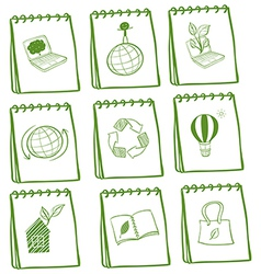 Notebooks with eco-friendly logos vector image vector image