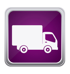 purple emblem delivery car icon vector image vector image