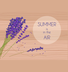 Purple rustic flowers with summer in the air words vector