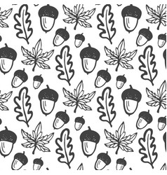seamless pattern with acorns and maple oak leaves vector image vector image