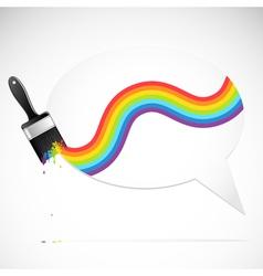 speech bubble with rainbow brush vector image