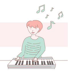 A young man playing piano design vector