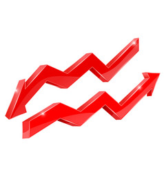 Arrows red financial indication arrows vector