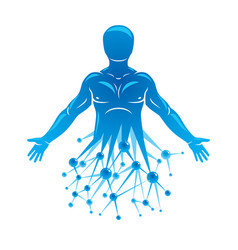 athletic man made using futuristic molecular vector image