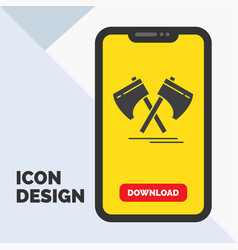 axe hatchet tool cutter viking glyph icon in vector image