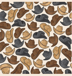 Background pattern with cowboy hats vector