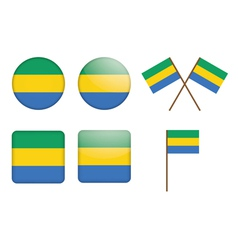 badges with flag of Gabon vector image
