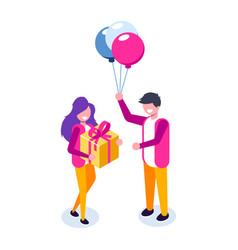 beautiful boyfriend is presenting a gift to her vector image