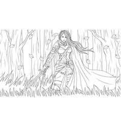 beautiful girl warrior vector image