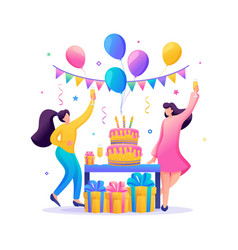 birthday party with friends people carry gifts vector image